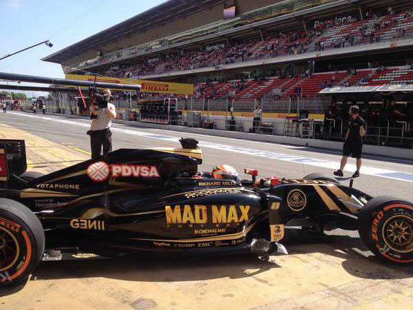 Right hand side of Lotus F1 with Mad Max Fury Road paintwork, Spanish Grand Prix 2015